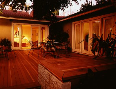 Photo of a house with a redwood deck