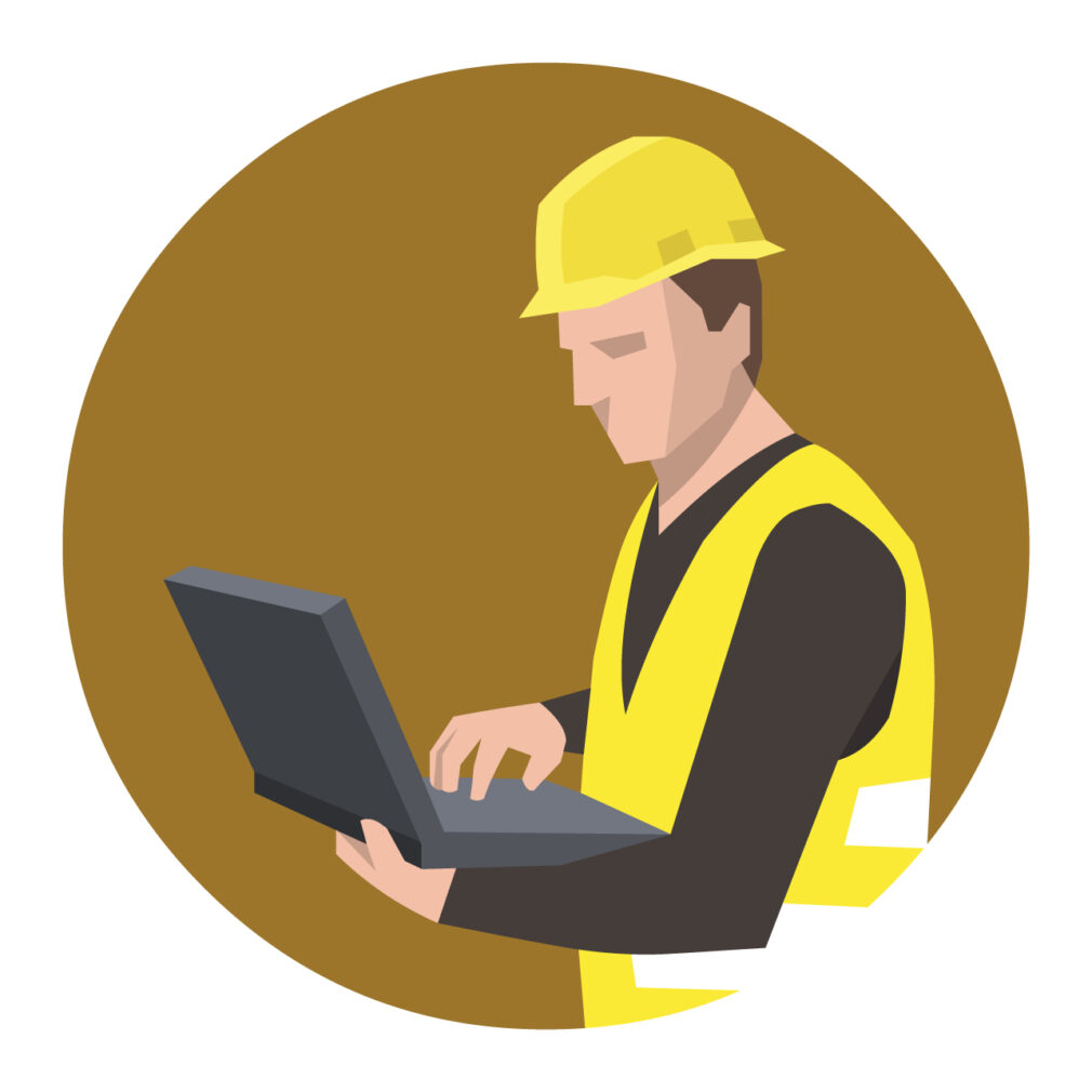 Drawing of a contractor on a computer