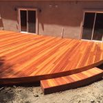 Redwood deck with step.
