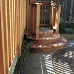 Fan-shaped steps.