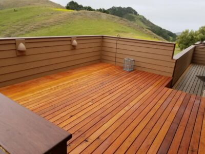 Beautiful deck with green hills in the background