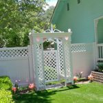 White trellis and gate.