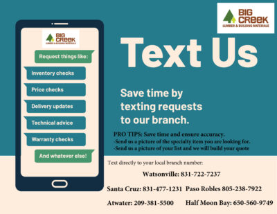 Information on texting your order to big creek