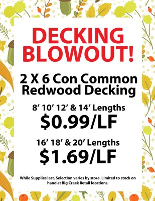 Redwood decking sale signage