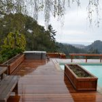 View of redwood deck around pool