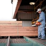 Employee straightens and bands units of lumber and trims off the protruding sticker ends.